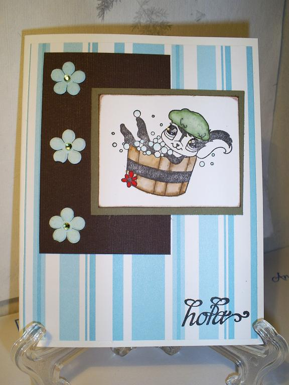 Hello card with Brown, blue and green as main colors.