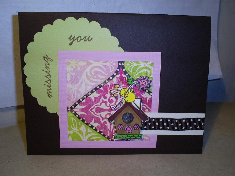 Missing you card following Color Combo from January 28 and using a sketch from January 30th post. Mimi Paper, Scraps of Green, Pink and Ivory Cardstock, ribbon from my stash, brown cardstock, BIC markers, Brown cardstok for the base.