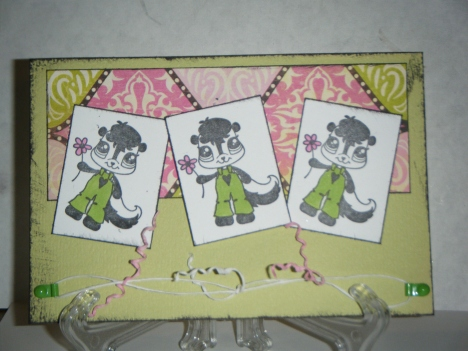 My card using Mimi paper and cardstock with one of the new stamps: Little Stinkers.