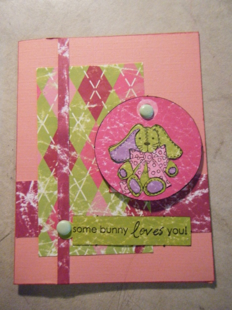 Here's an easter card closed. Stamps: Some Bunny, Paper: Pop Rockz, Cardstock: DCWV Pink 2