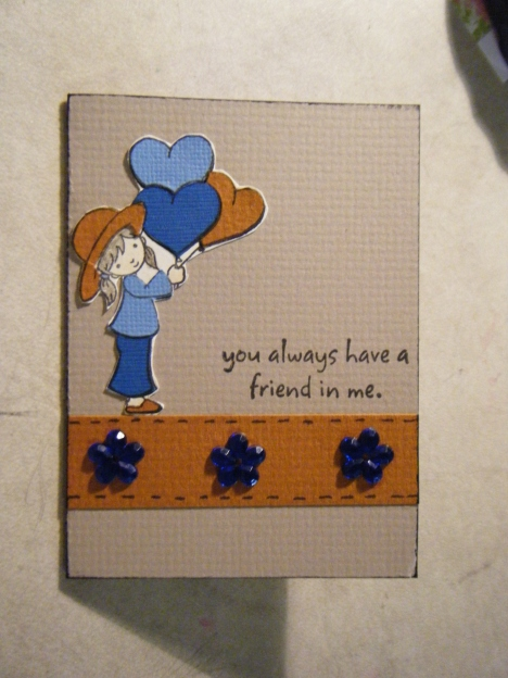 Here's a mini card done with scraps of bazzil and Dear Friend stamp set from The Angel Company.