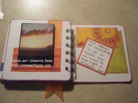 Últimas páginas del mini-album. Esta página no solo está decorada con la cinta que pasó a la página anterior, sino que también la foto está en dimensionales para añadir interés a la foto.